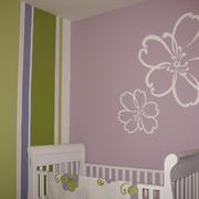 儿童房紫色壁纸图片