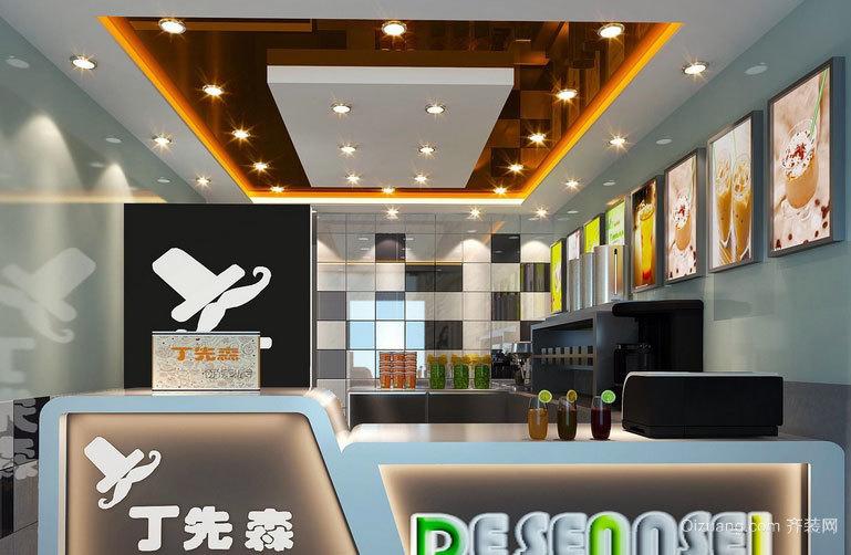 2015高人气时尚都市奶茶店装修设计图大全