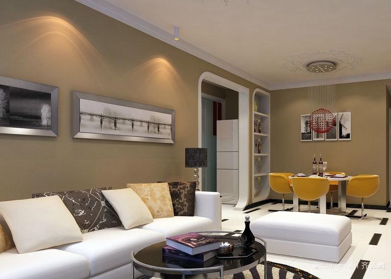 单身公寓时尚客厅硅藻泥背景墙装修效果图大全