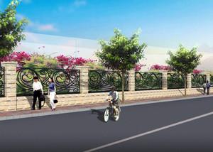 乡村田园风格围墙设计效果图