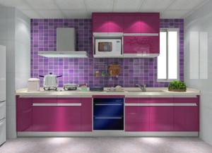 魅力紫色一字型厨房橱柜装修设计效果图