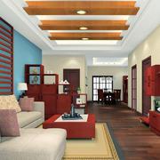 客厅自然木吊顶
