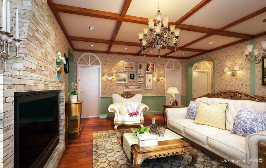 70平米精致原木美式客厅装修效果图