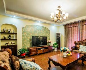 唯美精致的简欧风格客厅硅藻泥背景墙装修效果图
