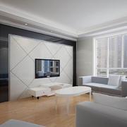 客厅白色瓷砖电视墙