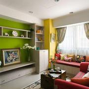 客厅绿色电视背景墙
