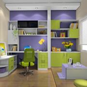 书房紫色背景墙