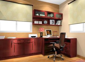 具有中国韵味的书房转角书桌书柜装修效果图