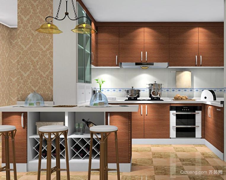 咖啡色U型厨房橱柜装修效果图