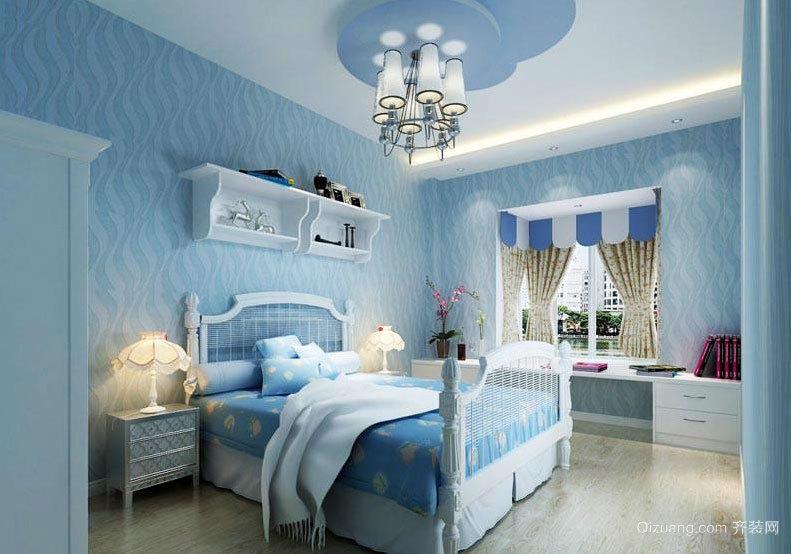 2015舒适的地中海风格儿童卧室背景墙装修效果图