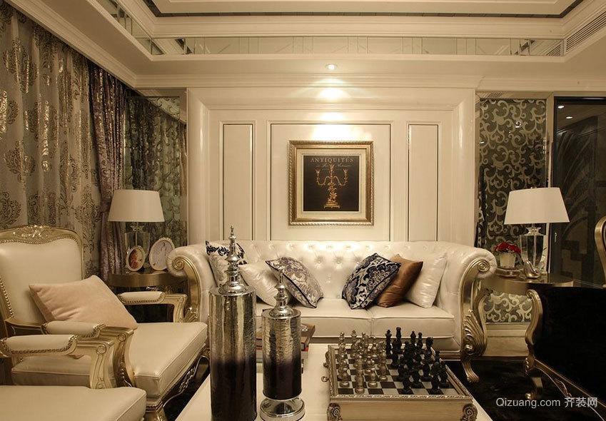 大户型雍容华贵的欧式沙发背景墙装修效果图