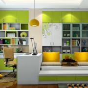 绿色清新的书房书柜