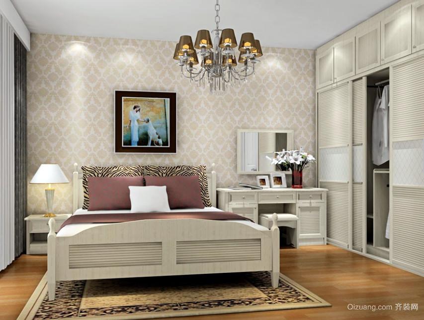 时尚英伦风格小卧室衣柜装修设计效果图