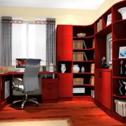 红褐色转角书柜