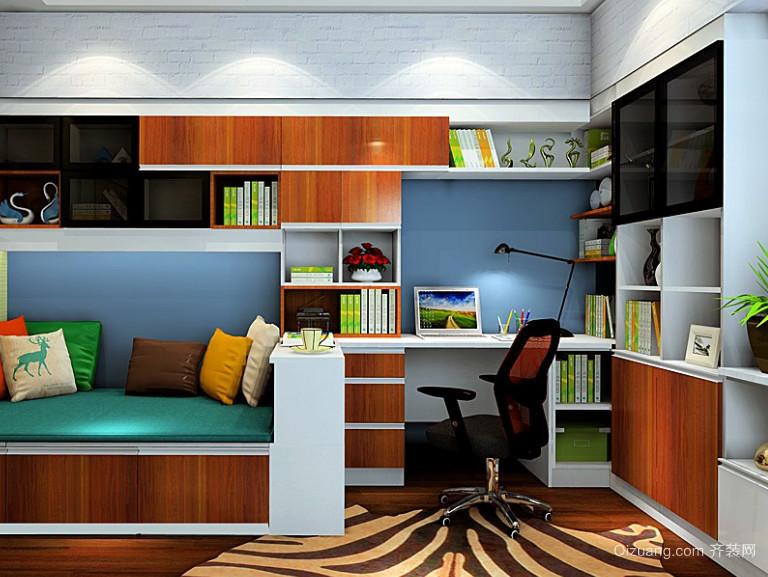 舒适安静的书房书柜组合装修效果图