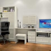 卧室书桌电视柜一体化