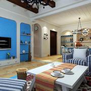 客厅蓝色电视背景墙