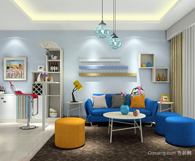 25平米蓝色之恋客厅沙发茶几装修效果图