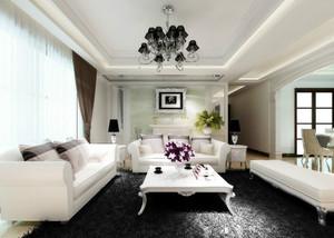 白色现代大户型客厅