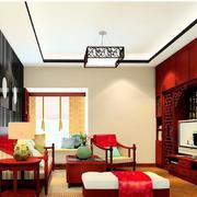 艳丽新中式客厅