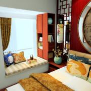 中式风格卧室飘窗