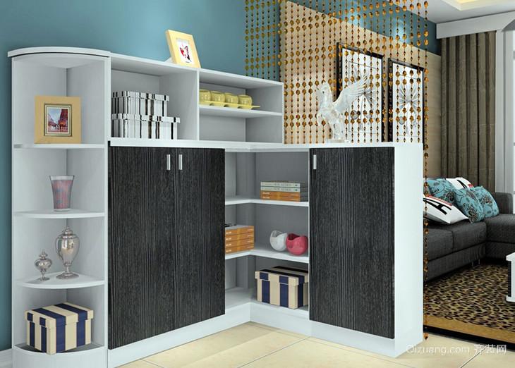 三室一厅黑白简约客厅隔断柜装修效果图