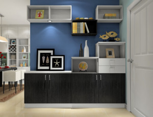 两居室小户型客厅黑白鞋柜装修设计效果图