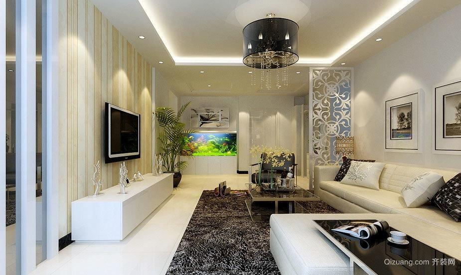 90平米温馨优雅的现代简约风格客厅装修效果图