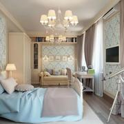 别墅小清新绿色卧室壁纸