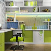 书房绿色书架