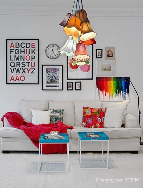卡通情怀的简欧风格客厅装修照片墙设计图片欣赏