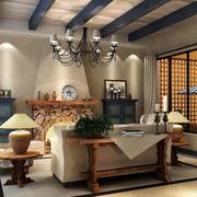 地中海客厅实木吊顶