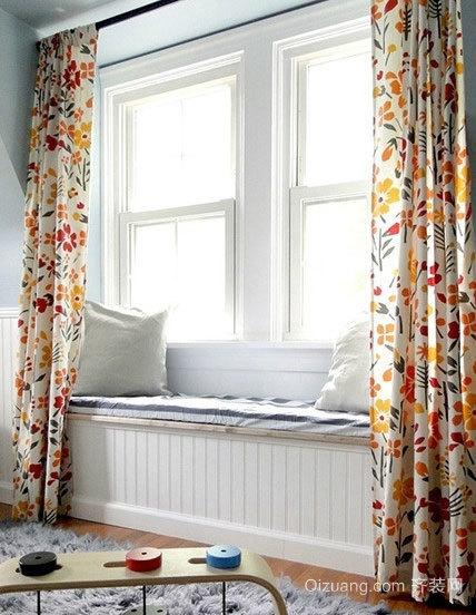 2015清新飘逸的现代飘窗窗帘装修效果图