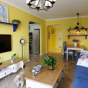 黄色时尚的客厅