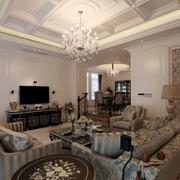 庄重的美式别墅客厅