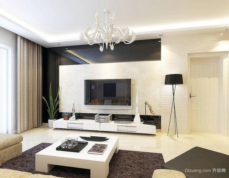 单身公寓气氛融洽的现代简约电视背景墙装修效果图