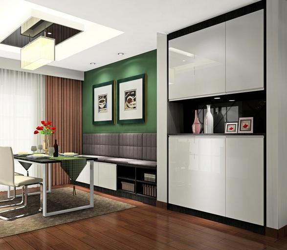 两居室小户型客厅 黑白鞋柜 装修设计效果图 齐