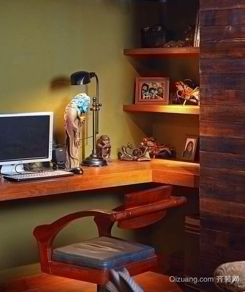 沉稳的东南亚风格的书房设计装修图片大全