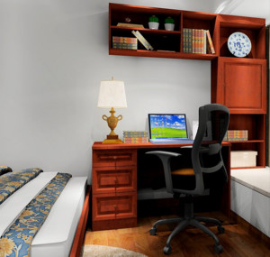 新中式主义别墅卧室飘窗装修设计效果图