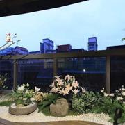入户花园假山真花设置