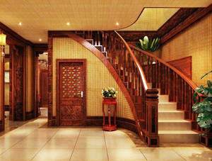 栩栩如生的别墅型实木楼梯装修效果图大全
