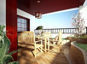 中式现代风格露台花园装修效果图