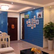 小户型蓝色照片墙