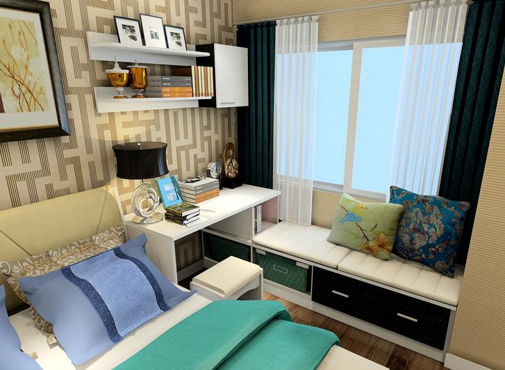 混搭 卧室飘窗 与 梳妆台 组合装修设计效果图 齐