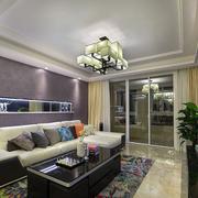 客厅紫色沙发背景墙