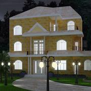 深夜里欧式风格的别墅