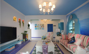 明亮清新风格客厅装修效果图