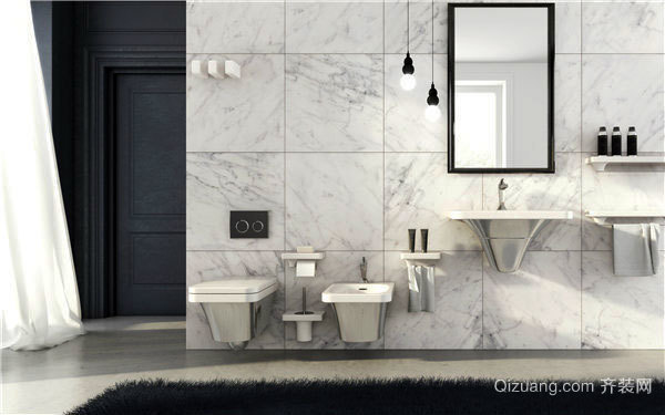 突显纹理感的大型浴室装修效果图