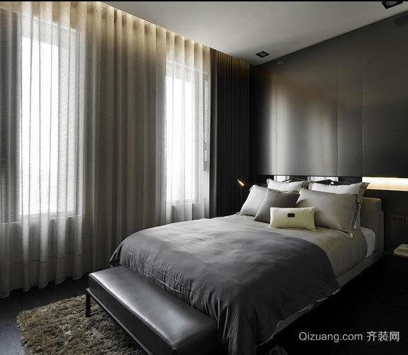 简约黑白经典主卧室和书房装修效果图