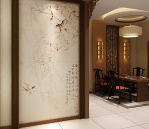 玄关中式风景画背景墙